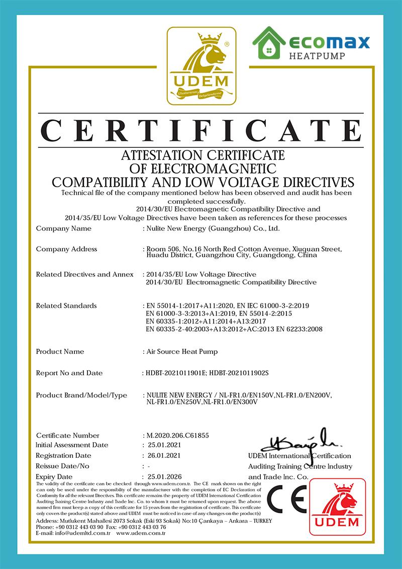 chung nhan CE heatpump New Energy