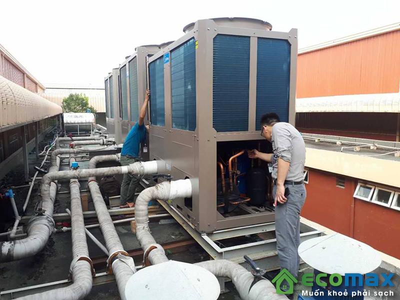 công trình lắp đặt máy bơm nước nóng heat pump midea